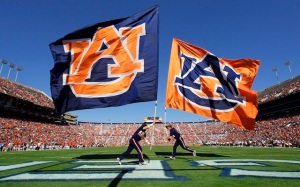 Nov 3, 2012; Auburn, AL, USA: Auburn Tigers cheerleaders carry Auburn flags after the Tigers scored a touchdown against the New Mexico State Aggies at Jordan-Hare Stadium. The Tigers beat the Aggies 42-7. Mandatory Credit: John Reed-USA TODAY Sports