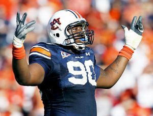 AUBURN, AL - OCTOBER 16: Defensive lineman Nick Fairley #90 of the Auburn Tigers celebrates a play during the game against the Arkansas Razorbacks at Jordan-Hare Stadium on October 16, 2010 in Auburn, Alabama. (Photo by Mike Zarrilli/Getty Images) Original Filename: 105995412.jpg